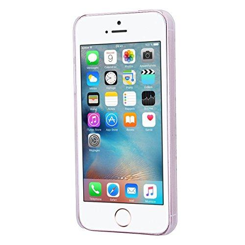 HB-Int 3 in 1 Custodia per Apple iPhone SE / 5 / 5S TPU Silicone Cassa Gomma Soft Silicone Case Bumper Morbida Cover Ultra Sottile Leggero Custodia Flessibile Liscio Caso Anti Graffio Anti Scossa Anti Bianco