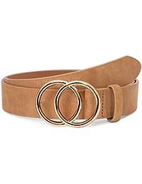 SUOSDEY Ledergürtel gute Qualität weiches Leder Damen Gürtel mit runder Metallschnalle zwei Ringen, Jeansgürtel für Frauen, Breite 3,3 cm