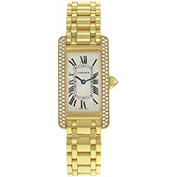 Cartier Tank Americaine WB7043JQ Diamonds 18K Yellow Gold Quartz Ladies Watch