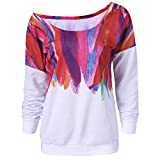 ESAILQ Frau Lose Langarm-Regenbogen-Druck-Pullover-Sweatshirt(XXL,Weiß)