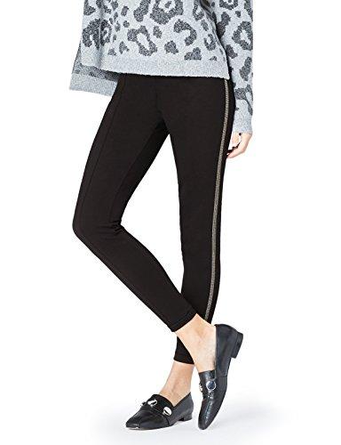 FIND Damen Leggings mit seitlicher Kettenbordüre und Nähten entlang der Beine  Schwarz, 42 (Herstellergröße: ()