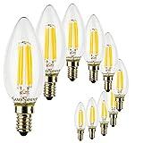 SunSeed, Zwei-Jahres-Gewährleistung, 10 X E14 5W Saphir Filament Glühfaden LED Lampe Kerze C35 AC220-240V Warmweiß 2700K 550 Lumens 300° Switching Driver IC Kein Flimmern