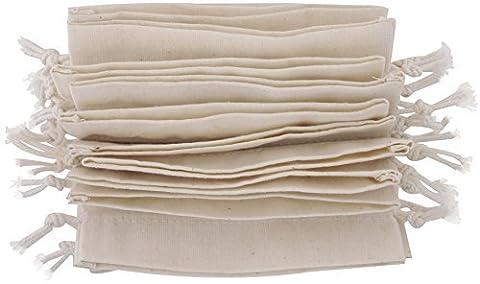Baumwollbeutel mit Kordelzug (7x9 - 24 Stück, Weiss)