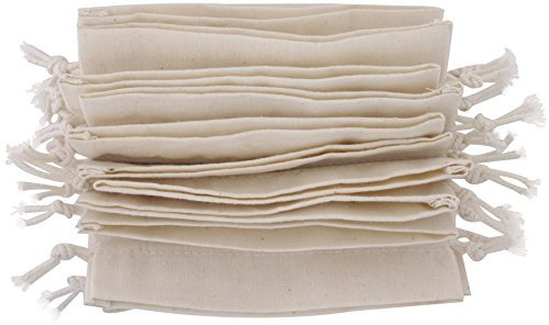 100 Prozent Baumwolle Beutel Mit Kordelzug, Stoffsack Mit Band Zum Zuziehen - Organisch Und Natürlich - (7x9cm - 24 Stück, Weiss) (Stoff-handtaschen Natürliche)
