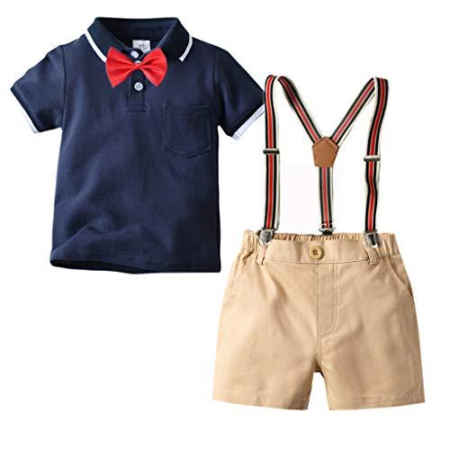 leidung Set-Revers Shirt+Hose+Fliege Anzug FüR Geburtstagsparty Kleid,Kinder Gentleman Party Outfit, Bowtie Kurzarm Tops+Sling Lange Kurz Hosen(Dunkelblau,110 cm,2-3 Jahre) ()
