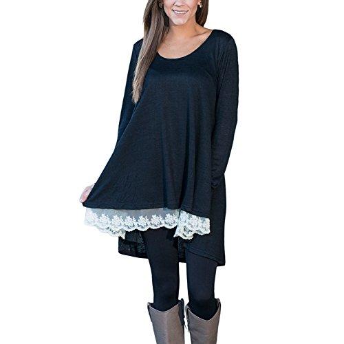 CINDY LOVER - Top à manches longues - Asymétrique - Uni - Manches Longues - Femme Noir