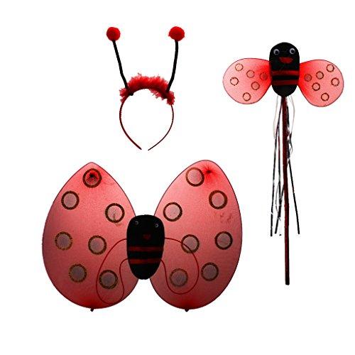 Marienkäfer Ladybird Kinder kostüm Zauberstab Stirnband Rock Halloween Party - 3pcs ohne rock, Eine Grösse passt - Marienkäfer Kostüm Stirnband
