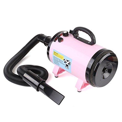 MVPOWER Secador de Pelo para Perros Gatos Mascotas Secador de Cabello con Calentador Blaster Lavado en Seco Potencia 2800W Temperatura y Velocidad Ajustable Color Rosado (Estándar Europeo)