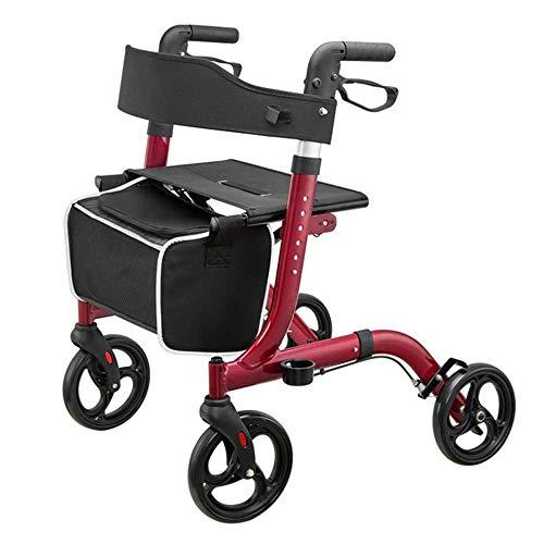 WYFC shopping cart 4 Rollator Walker Leichter Aluminium-Klappwanderer mit Schleifenbremse Höhenverstellbarer Sitz für Erwachsene, an Beinen und Armen,Red -