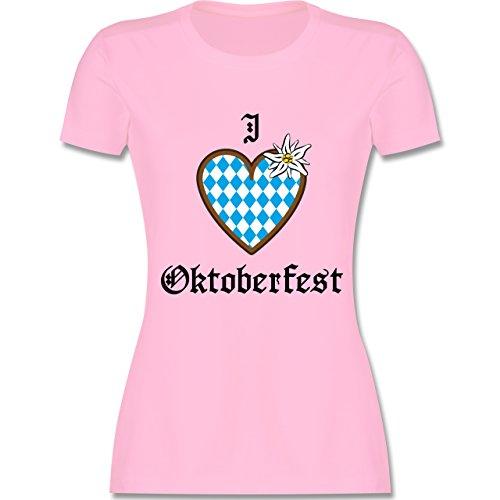 Oktoberfest Damen - Oktoberfest Love Edelweiß - tailliertes Premium T-Shirt mit Rundhalsausschnitt für Damen Rosa