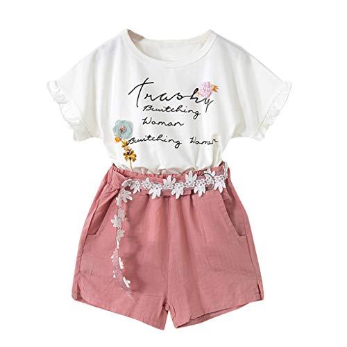 Mbby tuta bambina ragazza estate, 2-7 anni completo bambino ragazze 2 pezzi tute maglietta manica corte stampe lettre + pantaloncini set cotone (6-7anni, rosa)
