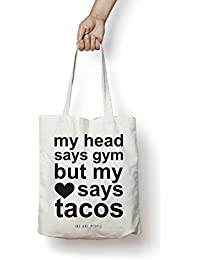Tacos Tote Bag| Canvas| Fashion| Eco Friendly| Shoulder Bag| For Gym Beach Shopping College| The Art People|