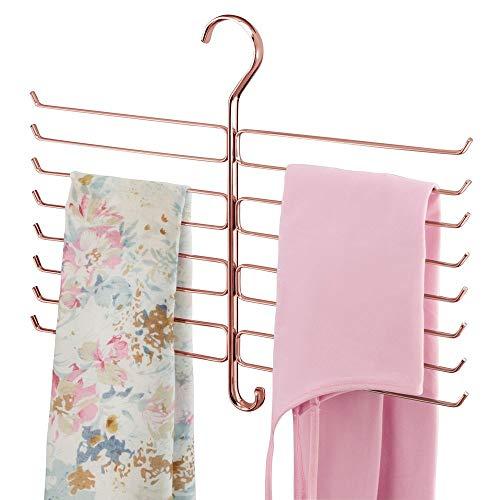 mDesign kompakte Hängeaufbewahrung für Yogahosen, Leggings und Schals - platzsparender Accessoire-Organizer für den Kleiderschrank - Hosenbügel mit 16 Haken aus Metalldraht - rotgold