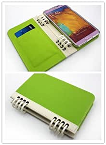 NineSeas. New Business Style Notebook Folio PU Leather Wallet Case with Cover for Samsung Galaxy Note III (Note 3) with Built-in Card Slots (Green & White)