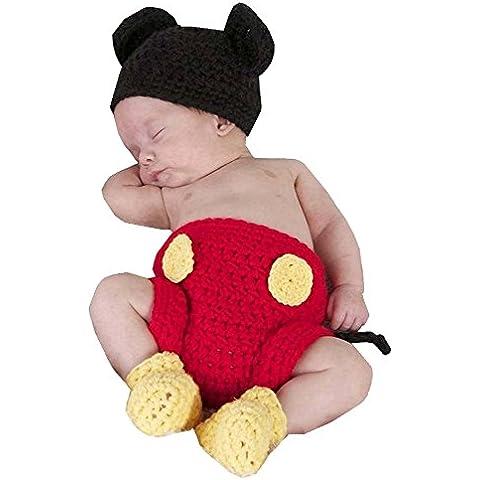 DAYAN Niñas Niños mikey Con zapatos Sombrero pañal Crochet Fotografía Proposición de 0-6 meses color negro & rojo