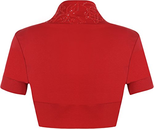 WearAll - Manches courtes cardigan - Hauts - Femme - Tailles 36-42 Rouge