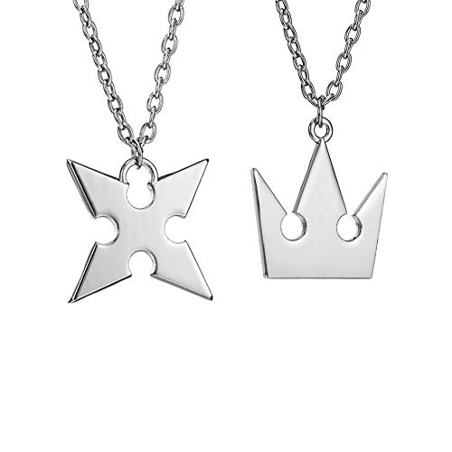 LACKINGONE Kingdom Hearts Halskette 2-teiliges Set Roxas Kreuz Halskette + Sora Crown Halskette