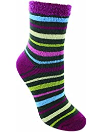 YakTrax Women's Cabin Aloe Infused Socks-Stripe, One Size