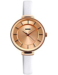 Naivo Women's Quartz Stainless Steel and Leather Casual, Color:Ivory (Model: WATCH-1133)