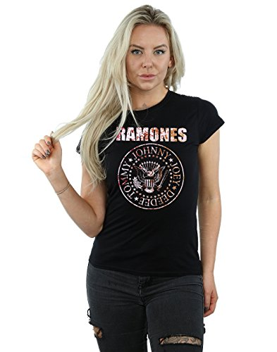 Ramones Mujer Flower Rose Camiseta Small Negro