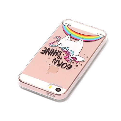 Felfy Coque Protection iPhone 5S,iPhone 5S Coque Silicone,iPhone SE Case Bumper Etui Ultra Mince TPU Silicone Transparent Housse Fleur Papillon Dentelle Flamingos Couleur Motif Silicone Portable Lanya Cheval*