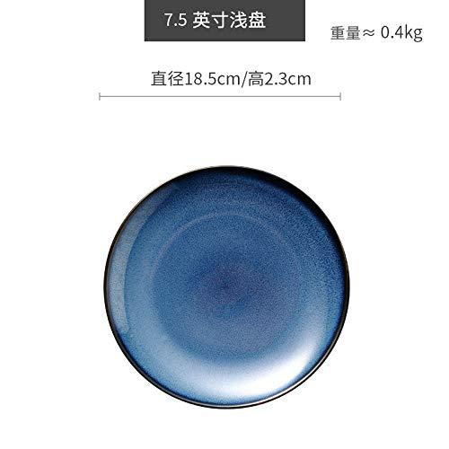 tlichen Gericht Obstsalat Platte Europäische Platte blau Haushaltsgeschirr flache Schale tiefblau 7,5 Zoll ()