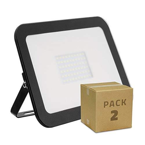 Pack Foco Proyector LED Slim Cristal 50W Negro (2 un) Blanco Cálido...
