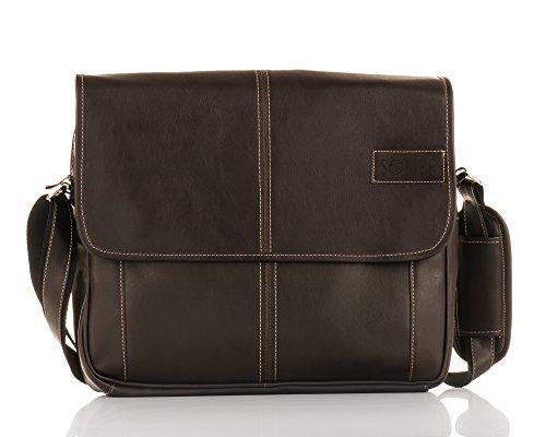 Solier Leder Herren Schulter Laptop Tasche Premium S15 Braun