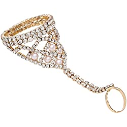 Majik Golden Pearl Finger Ring Chain Bracelet For Women