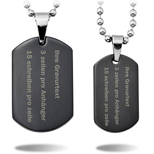 *MeMeDIY 2 PCS Schwarz Edelstahl Anhänger Halskette Dog Tag Paar Paare – Kundenspezifische Gravur*