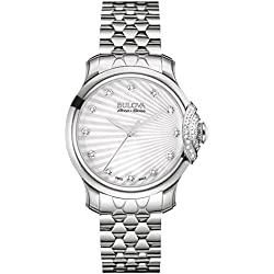 Bulova Accu Swiss Bellecombe 34mm Women's Quartz Watch with Silver Dial Analogue Display and Silver Stainless Steel Bracelet 63R147