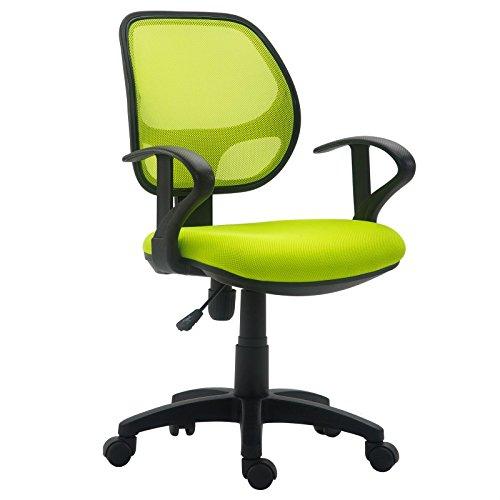 IDIMEX Kinderdrehstuhl Schreibtischstuhl Drehstuhl Bürodrehstuh COOL, 5 Doppelrollen, Sitzpolsterung, Armlehnen, in grün