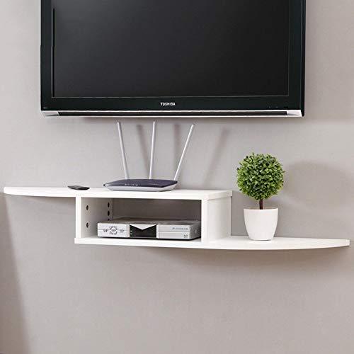 MTG Scaffalatura per sporgenze per componenti Dvd, Set Top Box, Cable Box, dispositivi di streaming e Dvr con ripiani in vetro nero Risparmio di spazio e facilità di installazione,bianca,140x24x15cm