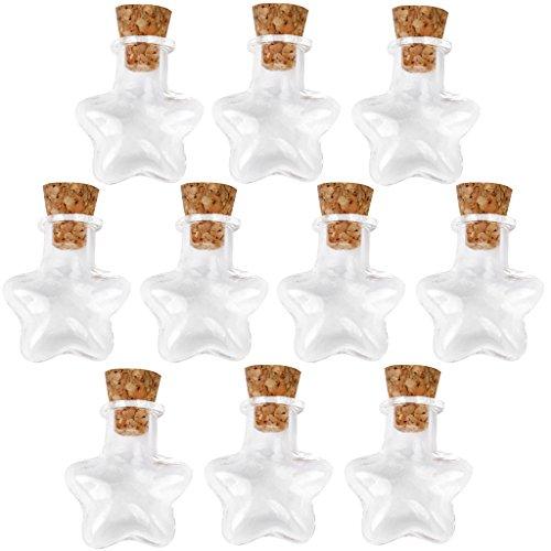 Preisvergleich Produktbild Stern Leer Merk Kleine klare Kork Nachricht Glasflaschen Vials 10 Stück