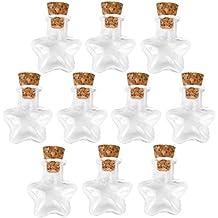 Forma De Estrella De Pequeñas Botellas De Vidrio Mensaje Corcho Claros Deseos Vacía ...