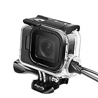 Knmaster GoPro Hero 5 6 7 Uyumlu USB Girişli Su Geçirmez Housing Koruyucu Aksesuar Unisex, Şeffaf, Tek Beden