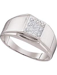 Jewels by Lux - Anillo de plata de ley para hombre, redondo, diamante, cuadrado, 0,03…