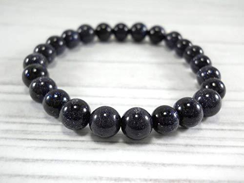 LOVEKUSH Beautiful AAA++ Quality Blue Sand Stone Natural Gemstone Beaded Bracelet, Beads 8mm, Elastic Stretch Cord, Men's Bracelet, Women's Bracelet -