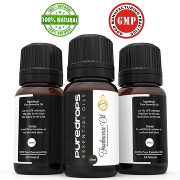 Pure Drops Frankincense Essential Oil (10ml)- 100% High- Quality - Wholly Therapeutic and Pharmaceutical Grade Oils - Used with Diffuser or Topically - Best for Wrinkled Skin, Mending Cuts, Eczema & Inflammation