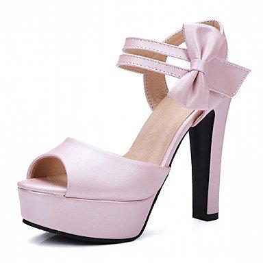 LvYuan Da donna Sandali Finta pelle PU (Poliuretano) Estate Autunno Footing Fiocco Quadrato Bianco Beige Viola Blu Rosa 12 cm e oltre beige