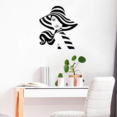 Wandtattoo aus Vinyl, Motiv Mädchen in einem Sonnenhut, 61 x 55,9 cm, modern, feminin, Körperform, für Zuhause, Arbeit, Schlafzimmer, Wohnzimmer, Büro, Geschäft, für drinnen und drinnen