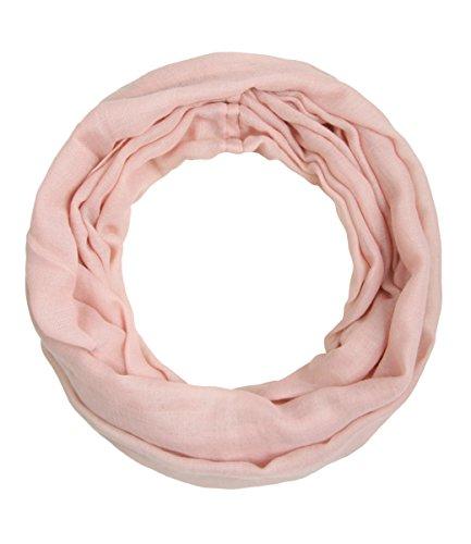 Majea schmaler Damen-Schal Loop Frühlingsschal Schlauchschal Rundschal Tuch uni unisex unifarben einfarbig Halstuch (rosa)