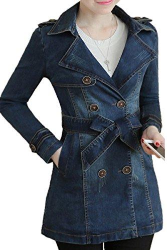 True Religion Mädchen Jeans (IWFREE Damen Jeansjacke Mantel Denim Jacke Mädchen Frauen Beiläufig Stilvoll Gewaschene Lose Jeans Loch Jacket Oberbekleidung Coat Outwear)