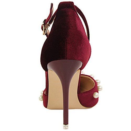 Azbro Women's Pointed Toe Ankle Strap Stiletto Heels Pearls Pumps Burgundy