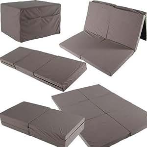 t double matelas pliable 192x128x7 lit pour invit es lit de voyage matelas avec poches beige. Black Bedroom Furniture Sets. Home Design Ideas