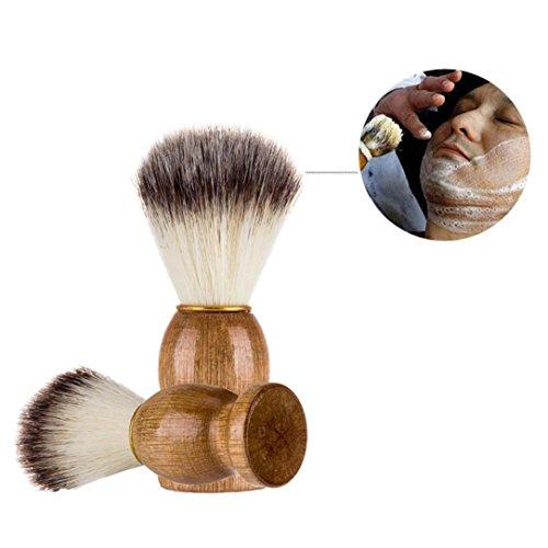 Blaireaux , Moonuy Balais de cheveu de blaireau d'hommes Meilleur blaireau de rasage de cheveux en bois de rasage de haute qualité pinceau rasoir Outil de dépoussiérage de barbier (A)