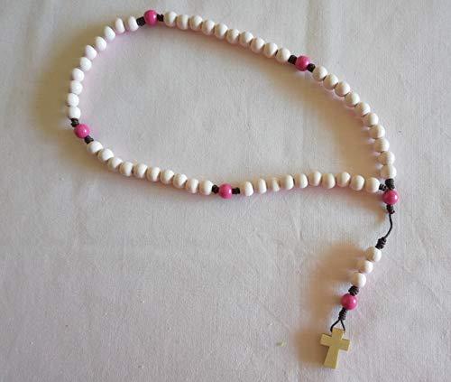 Rosenkranz handgeknüpft Holzperlen rosa pink - Rosa Blau Und Rosenkranz