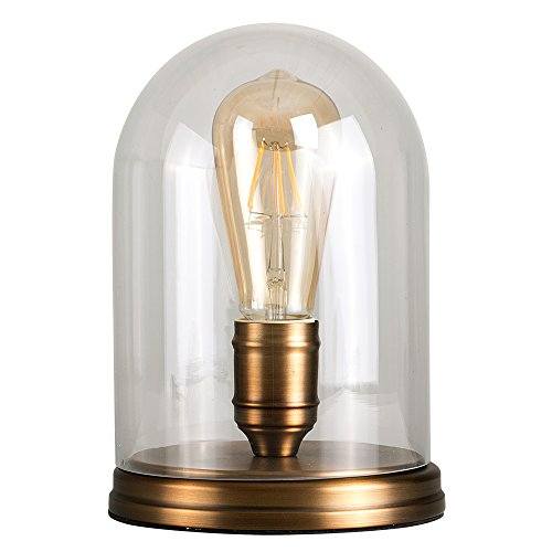 Retro-Aged-Brass-Effect-Metal-Base-and-Clear-Glass-Dome-Table-Lamp-Complete-with-a-MiniSun-4w-LED-Amber-Tinted-Squirrel-Cage-Steampunk-Light-Bulb