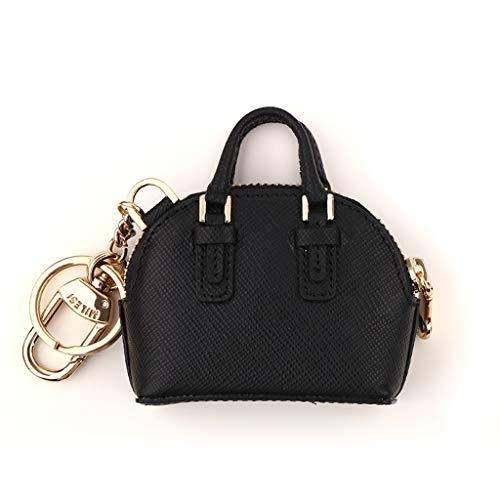 PLL Persönlichkeit Leder Schlüsselanhänger Kleine Tasche Anhänger Schlüsselanhänger Mini Tasche Styling Schlüsselbund (Color : Black) Schlüsselanhänger Touchpad
