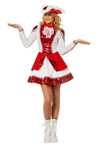 Kostüm Hexe Kind Garde - Tanzmariechen Kleid Garde für Kinder rot/weiß mit Pailletten ohne Hut Gr. 38